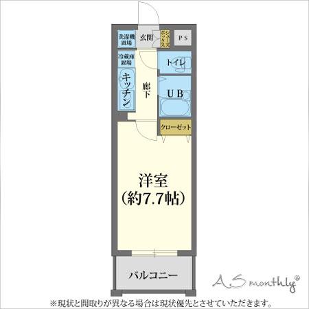 京都駅前fom-1 禁煙(85)間取り